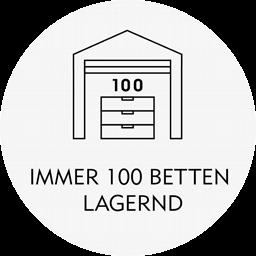 100 Betten und Boxspringbetten lagernd